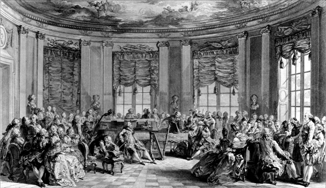 A salon scene in an engraving by Antoine Jean Duclos after a painting by Augustin de St.-Aubin. 1774