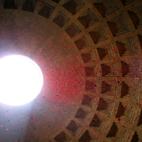 Rose Petals Falling through the Pantheon's Oculus